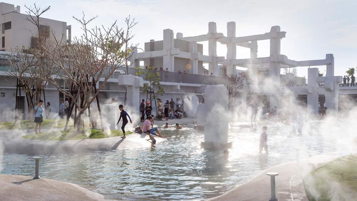 Переосмысление пространства: парк с бассейном на обломках торгового центра  в Тайване– фото
