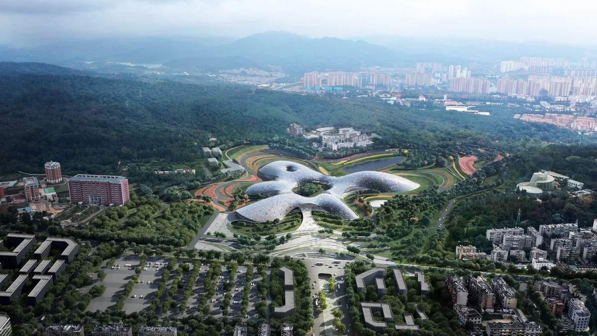 Три горы и одно озеро: в Китае построят футуристический ботанический музей – фото