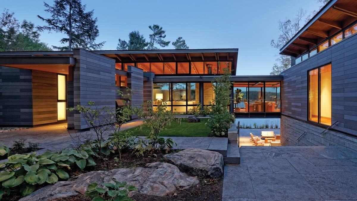 Дом-мост: красивые фото L-образной резиденции в горах Канады