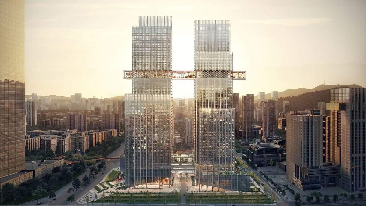 """Вежа-мікрорайон: в Китаї побудують пару хмарочосів, які стануть """"стисненим містом"""" – фото"""