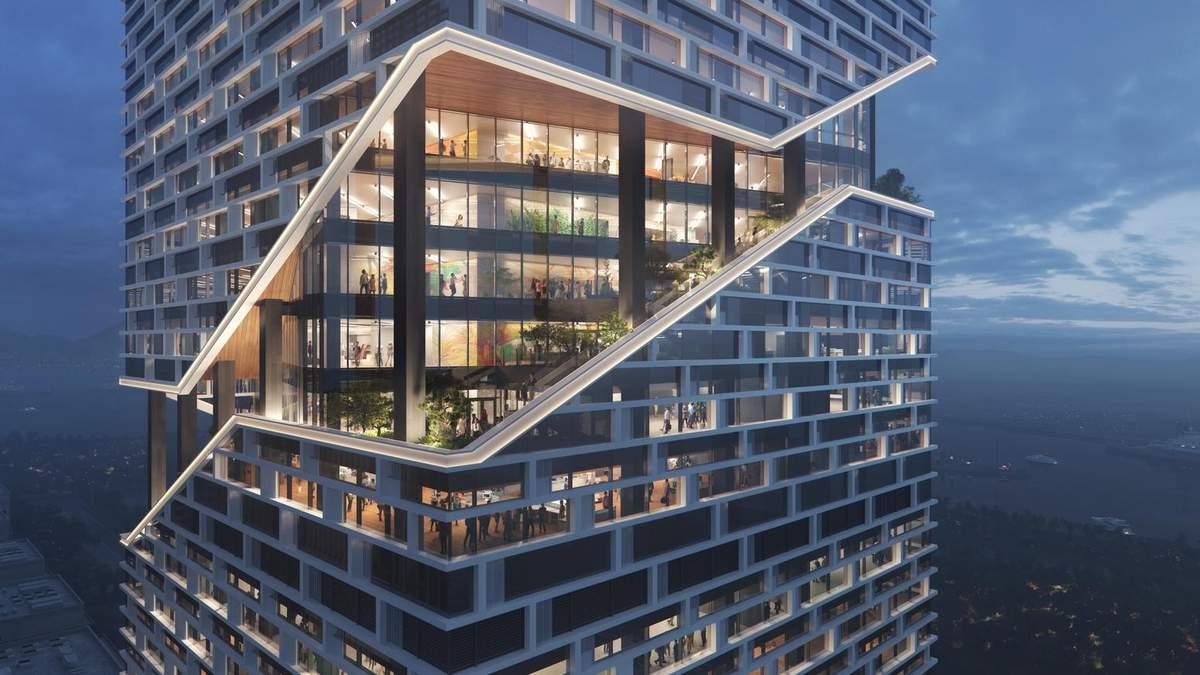 Городская губка: в Китае разработали высокотехнологичную башню, которая может впитывать воду