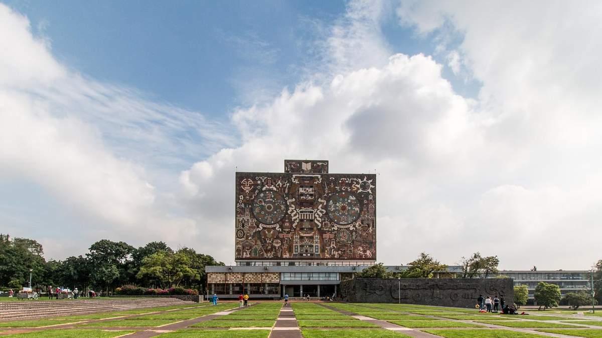 Бумбокс с национальными росписями: фото грандиозного здания университета из Мексики
