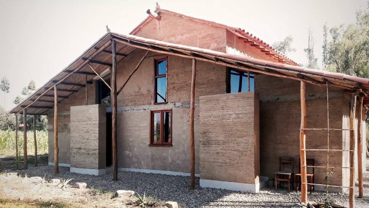 Дерево та глина: фото експериментального будинку, який будували з утрамбованої землі