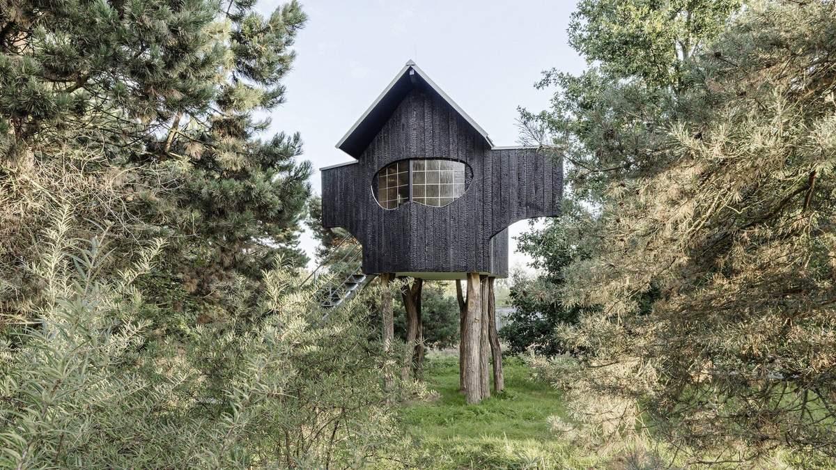 На деревянных ножках: в Японии архитектор построил обугленный чайный домик – фото