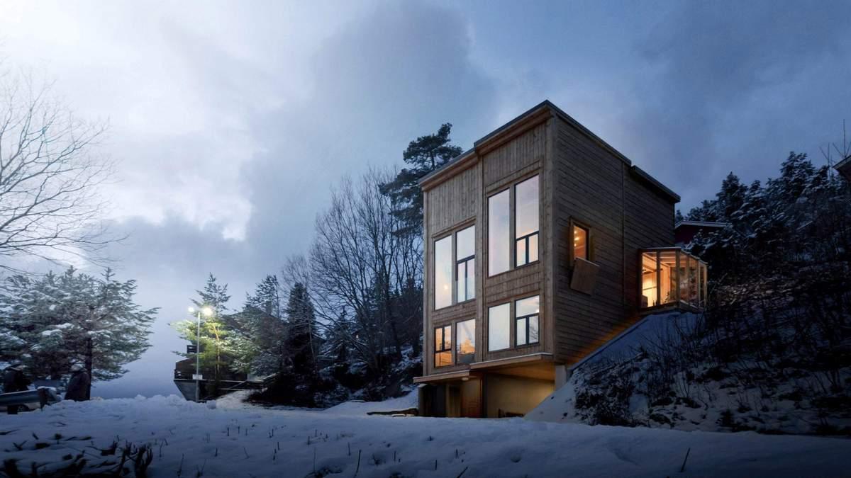Дремота посреди зимы: вариация уютного дома из сруба в Норвегии – фото