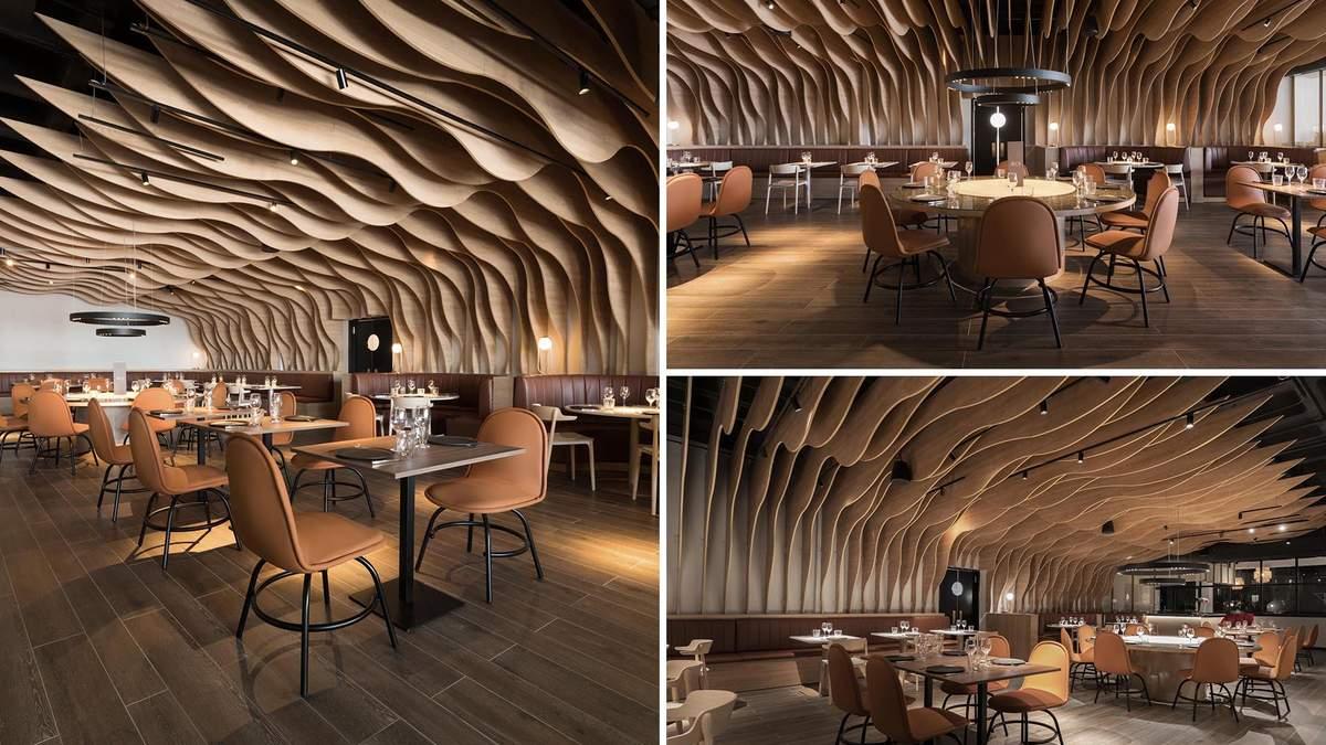 Деревянные плавники: привлекательный интерьер в испанском ресторане