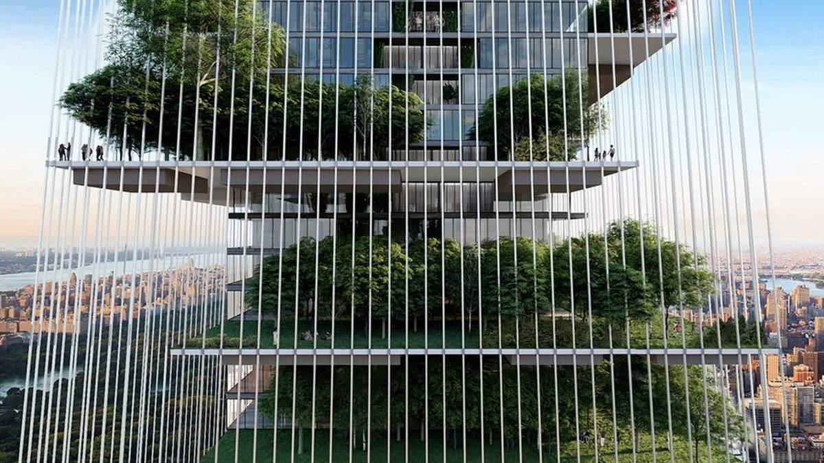 Об'єднання архітектури та природи: вражаючий хмарочос-сад у Нью-Йорку, який наповнений рослинами