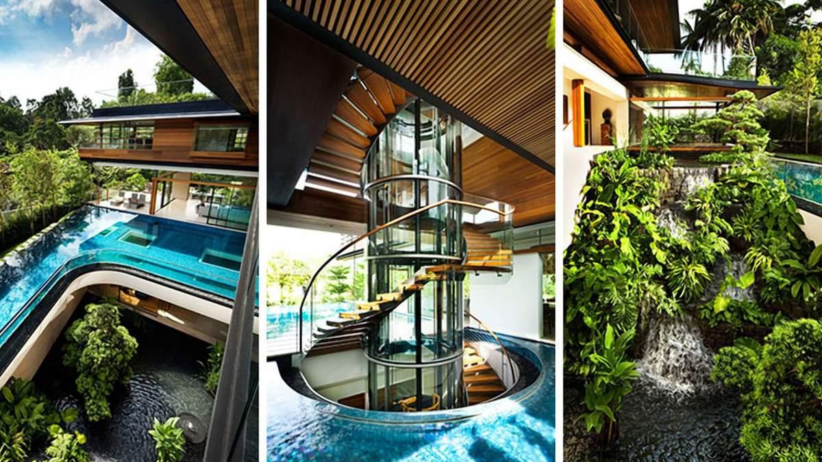 Посеред води: неймовірна резиденція зі скляними сходами у Сінгапурі
