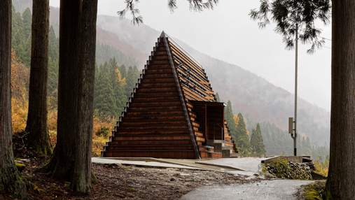 Тысяча окон: в Японии построили треугольный пансионат из пиломатериалов – фото