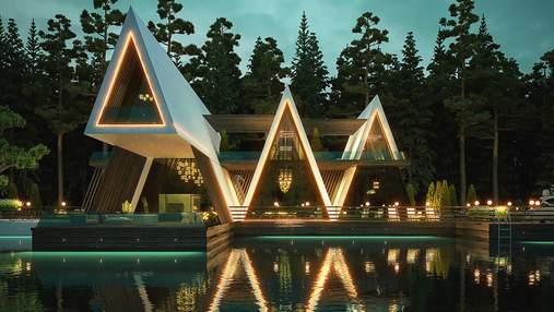Привлекательная геометрия: проект резиденции в форме палатки на берегу реки