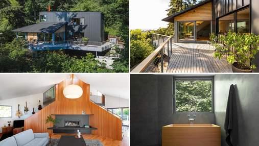 Чорний мінімалізм: затишний ремонт у будинку на схилі пагорба
