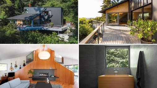 Черный минимализм: уютный ремонт в доме на склоне холма