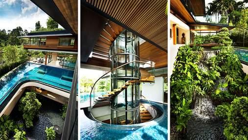 Среди воды: невероятная резиденция со стеклянными ступенями в Сингапуре